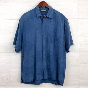 Tommy Bahama 100% Silk Blue Leaf Texture Shirt